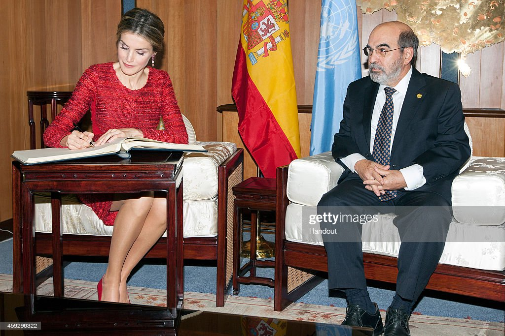 In this handout image provided by the Food and Agriculture Organization of the UN (FAO), Queen Letizia of Spain meets Director of the FAO Jose Da Silva during the Second International Conference on Nutrition in the Plenary Hall at the Fao Headquarter on November 20, 2014 in Rome, Italy. Representitives from 190 countries attended the conference, aimed at tackling malnutruition in the poorest regions of the world.
