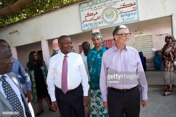 N'DJAMENA CHAD MARCH 20 In this handout image provided by the Gates Archive Alhaji Aliko Dangote President CEO Dangote Group and Bill Gates Cochair...