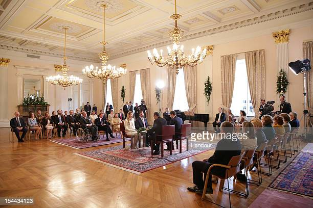 In this handout image provided by the Grand-Ducal Court of Luxembourg, Prince Guillaume of Luxembourg and Countess Stephanie de Lannoy attend their...