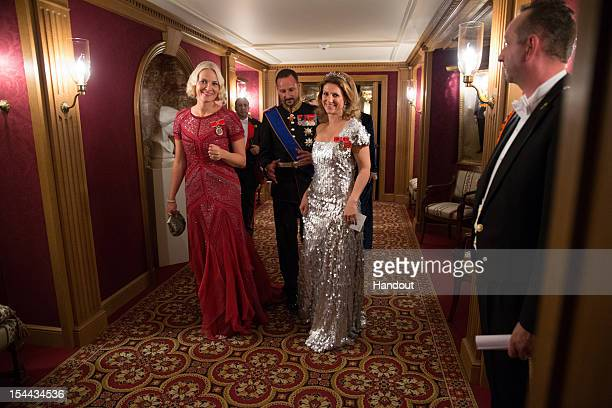 In this handout image provided by the GrandDucal Court of Luxembourg Princess MetteMarit of Norway Prince Haakon of Norway and Princess Martha Louise...