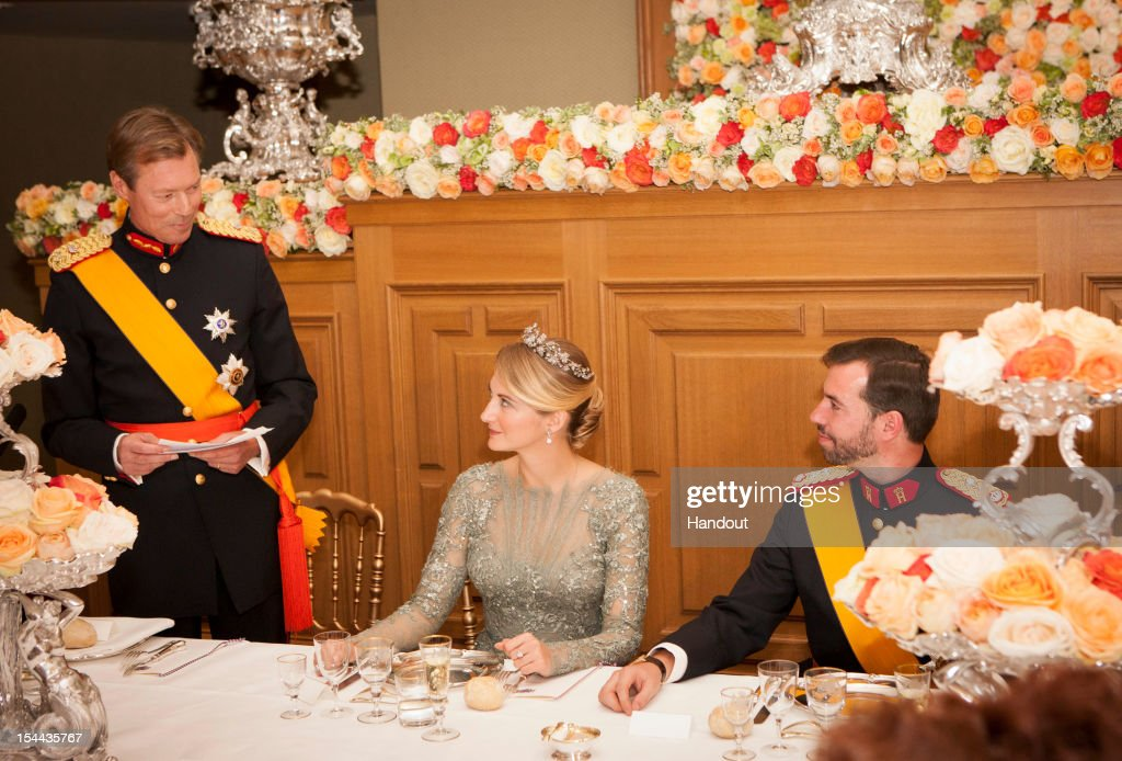 In this handout image provided by the Grand-Ducal Court of Luxembourg, Grand Duke Henri of Luxembourg, Countess Stephanie de Lannoy and Prince Guillaume Of Luxembourg attend a Gala dinner for the wedding of Prince Guillaume of Luxembourg and Countess Stephanie de Lannoy at the Grand-ducal Palace on October 19, 2012 in Luxembourg, Luxembourg. The 30-year old hereditary Grand Duke of Luxembourg is the last hereditary Prince in Europe to get married, marrying his 28-year old Belgian Countess bride in a lavish 2-day ceremony. - Royal Wedding 2012 / Luxembourg / Crown Prince Guillaume / Countess Stephanie / Royals Luxembourg / Grand-Duke / H.R.H Grand-Duke Henri / Countess Stéphanie de Lannoy /H.R.H. Crown Prince Guillaume / - Photo: ©Grand-Ducal Court/Christian Aschman/All rights reserved