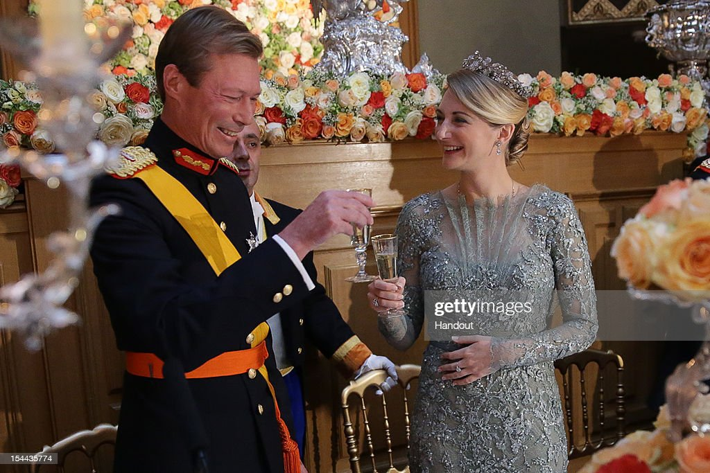 In this handout image provided by the Grand-Ducal Court of Luxembourg, Grand Duke Henri of Luxembourg and Countess Stephanie de Lannoy attend a Gala dinner for the wedding of Prince Guillaume of Luxembourg and Countess Stephanie de Lannoy at the Grand-ducal Palace on October 19, 2012 in Luxembourg, Luxembourg. The 30-year old hereditary Grand Duke of Luxembourg is the last hereditary Prince in Europe to get married, marrying his 28-year old Belgian Countess bride in a lavish 2-day ceremony. - Royal Wedding 2012 / Luxembourg / Crown Prince Guillaume / Countess Stephanie / Royals Luxembourg / Grand-Duke / H.R.H Grand-Duke Henri / Countess Stéphanie de Lannoy /H.R.H. Crown Prince Guillaume / - Photo: ©Grand-Ducal Court/Christian Aschman/All rights reserved