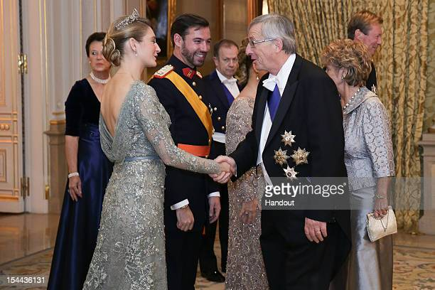 In this handout image provided by the GrandDucal Court of Luxembourg Countess Stephanie de Lannoy Prince Guillaume Of Luxembourg and Luxembourg Prime...