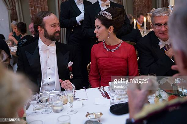 In this handout image provided by the GrandDucal Court of Luxembourg Crown Princess Mary of Denmark attends a Gala dinner for the wedding of Prince...