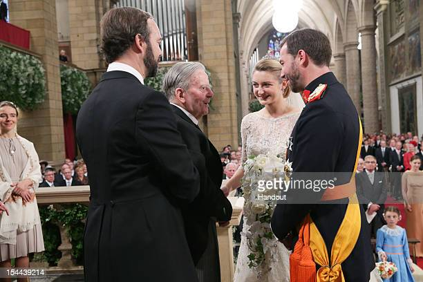 In this handout image provided by the GrandDucal Court of Luxembourg Princess Stephanie of Luxembourg and Crown Prince Guillaume of Luxembourg speak...