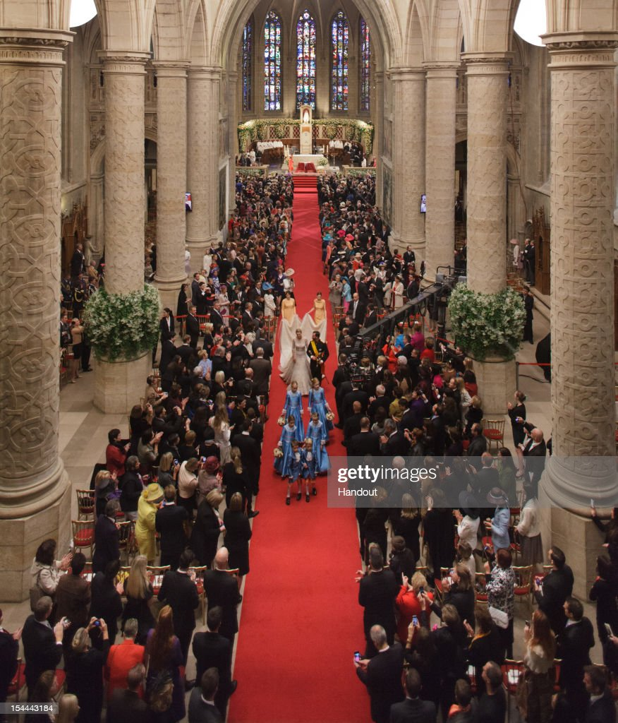 In this handout image provided by the Grand-Ducal Court of Luxembourg, Princess Stephanie of Luxembourg and Prince Guillaume Of Luxembourg walk the aisle after their wedding ceremony at the Cathedral of our Lady of Luxembourg on October 20, 2012 in Luxembourg, Luxembourg. The 30-year old hereditary Grand Duke of Luxembourg is the last hereditary Prince in Europe to get married, marrying his 28-year old Belgian Countess bride in a lavish 2-day ceremony.