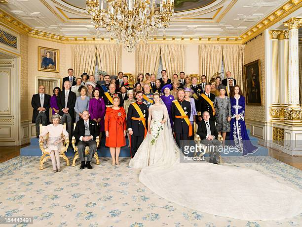 In this handout image provided by the Grand-Ducal Court of Luxembourg, Princess Stephanie of Luxembourg and Prince Guillaume of Luxembourg pose with...