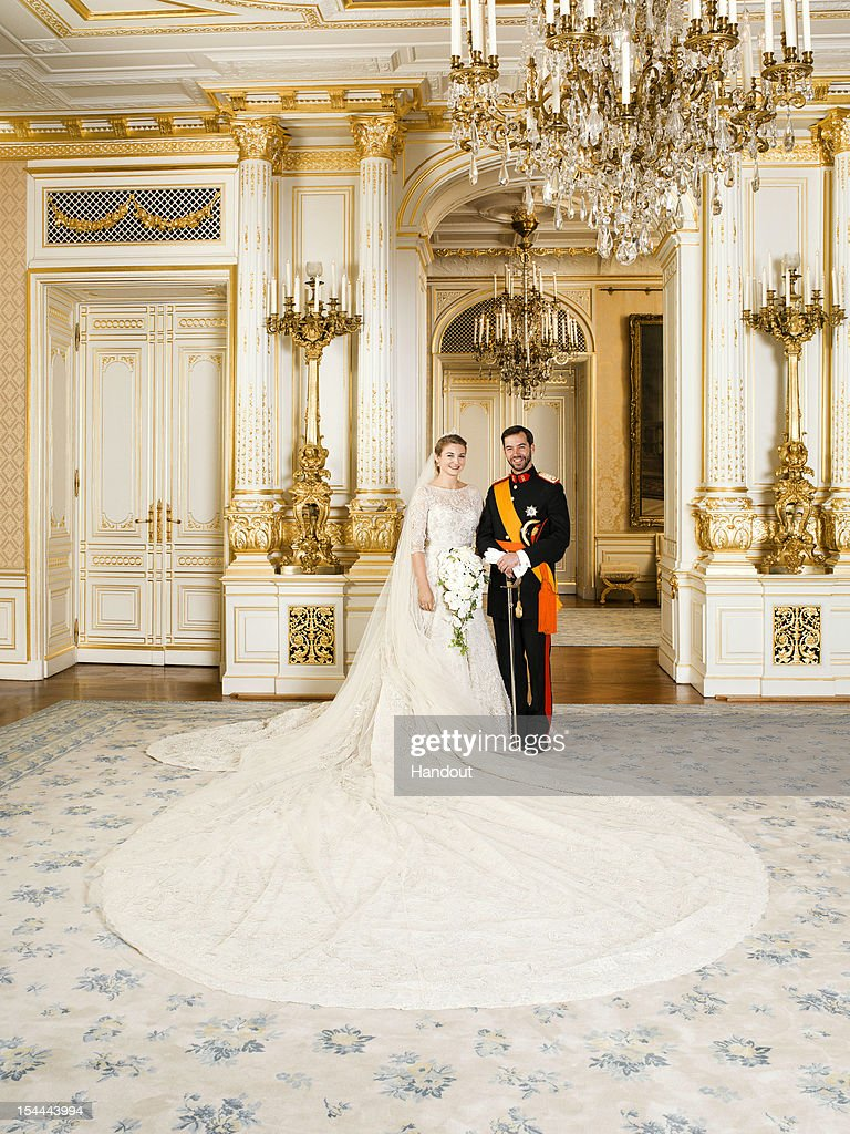 In this handout image provided by the Grand-Ducal Court of Luxembourg and Princess Stephanie of Luxembourg and Prince Guillaume of Luxembourg pose for an official photo inside the Grand-Ducal Palace after their wedding ceremony at the Cathedral of our Lady of Luxembourg on October 20, 2012 in Luxembourg, Luxembourg.