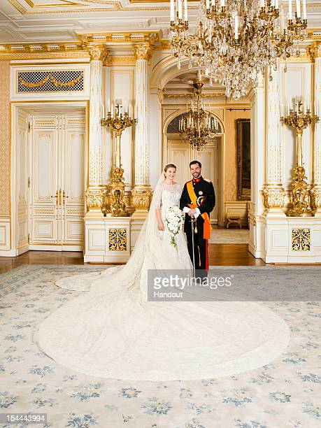 In this handout image provided by the GrandDucal Court of Luxembourg and Princess Stephanie of Luxembourg and Prince Guillaume of Luxembourg pose for...