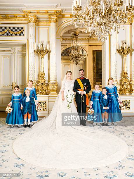 In this handout image provided by the GrandDucal Court of Luxembourg and Princess Stephanie of Luxembourg and Prince Guillaume of Luxembourg pose...