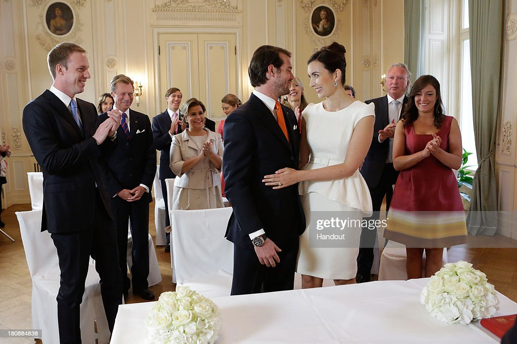 In this handout image provided by the Grand-Ducal Court of Luxembourg, Prince Felix Of Luxembourg, Claire Lademacher and their respective family attend their Civil Wedding at Villa Rothschild Kempinski on September 17, 2013 in Konigstein, Germany. ©Grand-Ducal Court/Guy Wolff. All rights reserved.