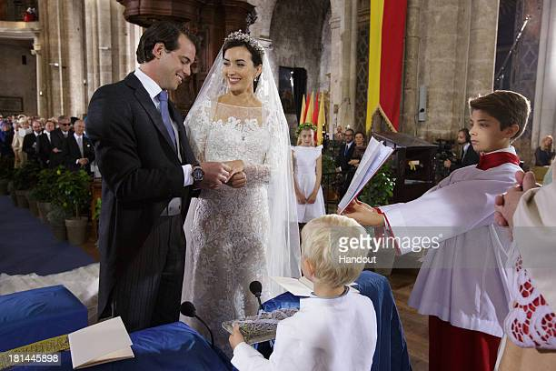 In this handout image provided by the Grand-Ducal Court of Luxembourg, Prince Felix Of Luxembourg, Princess Claire Of Luxembourg and Prince Noah Of...