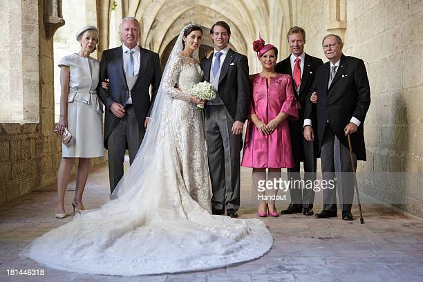 In this handout image provided by the GrandDucal Court of Luxembourg Prince Felix Of Luxembourg and Princess Claire Of Luxembourg pose with Gabriele...