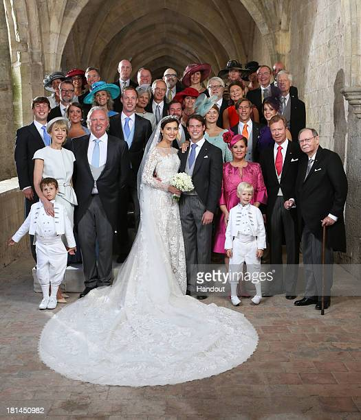 In this handout image provided by the GrandDucal Court of Luxembourg Prince Felix Of Luxembourg and Princess Claire Of Luxembourg pose with Royals...