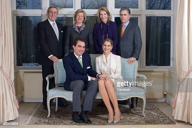 In this handout image provided by the Greek Royal Family King Constantine of Greece Queen Anne Marie of Greece MarieBlanche Brillembourg and Atilio...