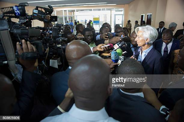 In this handout image provided by the International Monetary Fund, International Monetary Fund Managing Director Christine Lagarde speaks to the...
