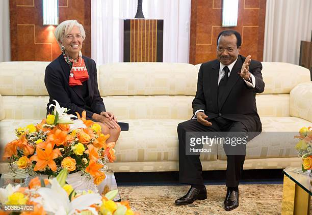 In this handout image provided by the International Monetary Fund International Monetary Fund Managing Director Christine Lagarde meets with...