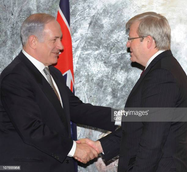In this handout image provided by the Israeli Government Press Office , Israeli Prime Minister Benjamin Netanyahu meets with Australian Minister for...