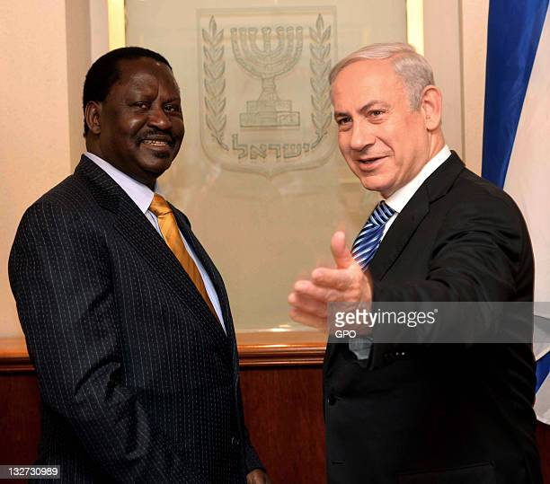 In this handout image provided by the Israeli Government Press Office Israel's Prime Minister Benjamin Netanyahu meets with Kenya's Prime Minister...
