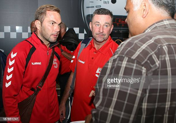 In this handout image provided by the ITM Group Jason McAteer and John Aldridge during the Liverpool FC Legends Tour arrival at King Shaka...