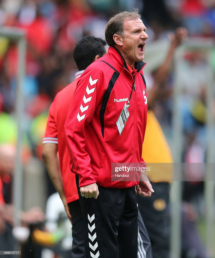 In this handout image provided by the ITM Group, Phil Thompson of Liverpool Legends makes a point during the Legends match between Liverpool FC Legends and Kaizer Chiefs Legends at Moses Mabhida Stadium on November 16, 2013 in Durban, South Africa.