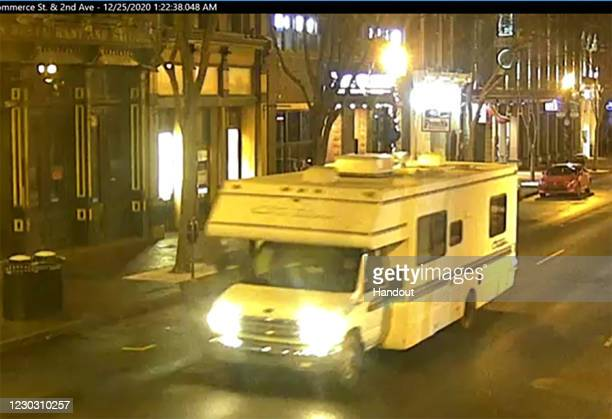 In this handout image provided by the Metro Nashville Police Department, a screengrab of surveillance footage shows the recreational vehicle...