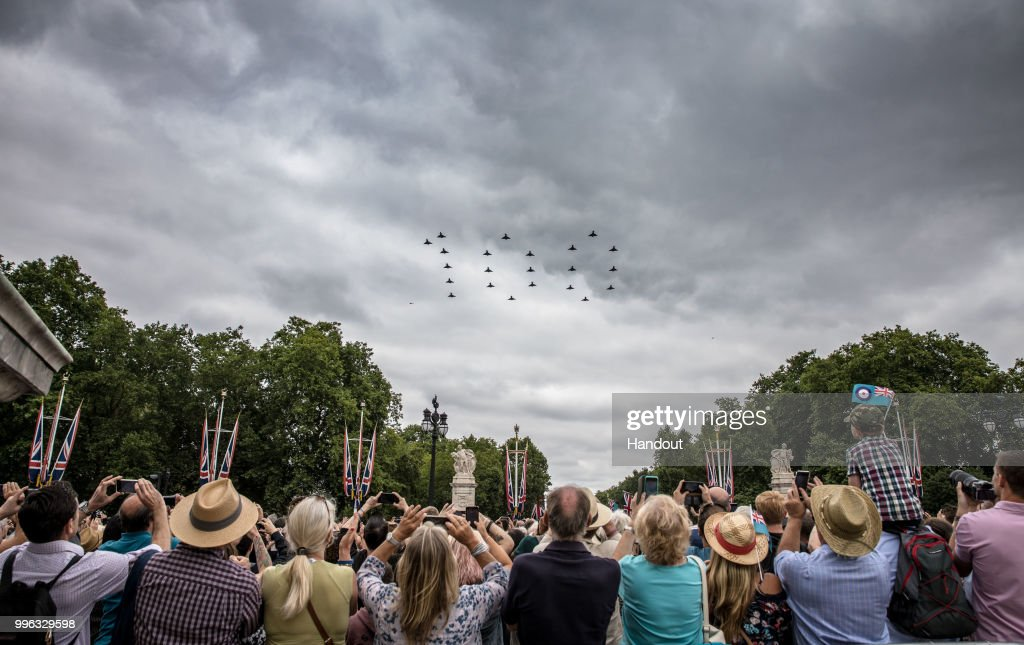 In this handout image provided by the Ministry of Defence, 22 RAF Typhoon aircraft fly in formation for the RAF100 flypast over London during RAF 100 celebrations on July 10, 2018 in London, England. A centenary parade and a flypast of up to 100 aircraft over Buckingham Palace took place today to mark the Royal Air Forces' 100th birthday.