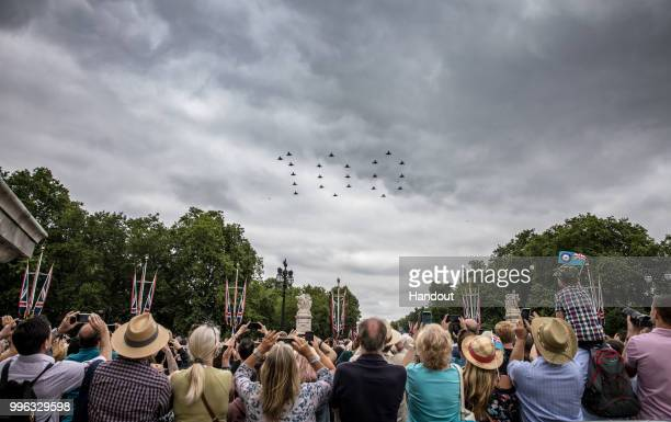 In this handout image provided by the Ministry of Defence 22 RAF Typhoon aircraft fly in formation for the RAF100 flypast over London during RAF 100...