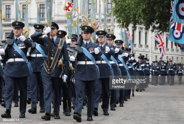 In this handout image provided by the Ministry of Defence over 1000 RAF servicemen and women perform a ceremonial parade along with almost 300...