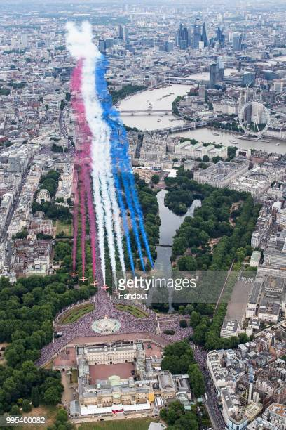 In this handout image provided by the Ministry of Defence Red Arrows taking part in the RAF100 parade and flypast over London during RAF 100...