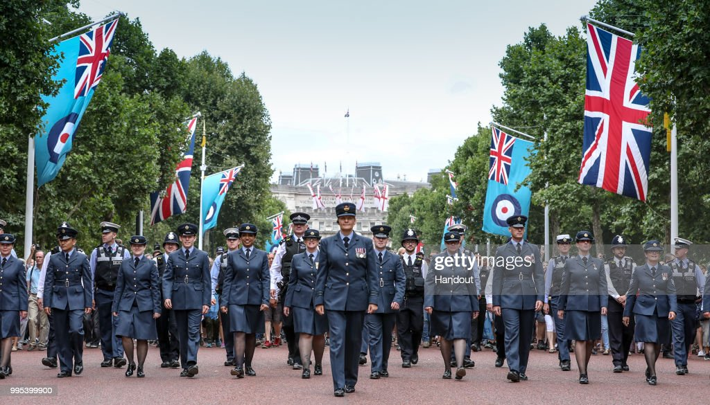 In this handout image provided by the Ministry of Defence, Royal Air Force personnel, parading down the Mall during RAF 100 celebrations on July 10, 2018 in London, England. A centenary parade and a flypast of up to 100 aircraft over Buckingham Palace takes place today to mark the Royal Air Forces' 100th birthday.