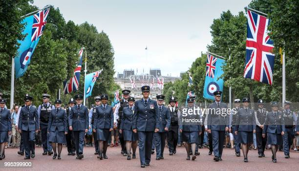 In this handout image provided by the Ministry of Defence Royal Air Force personnel parading down the Mall during RAF 100 celebrations on July 10...