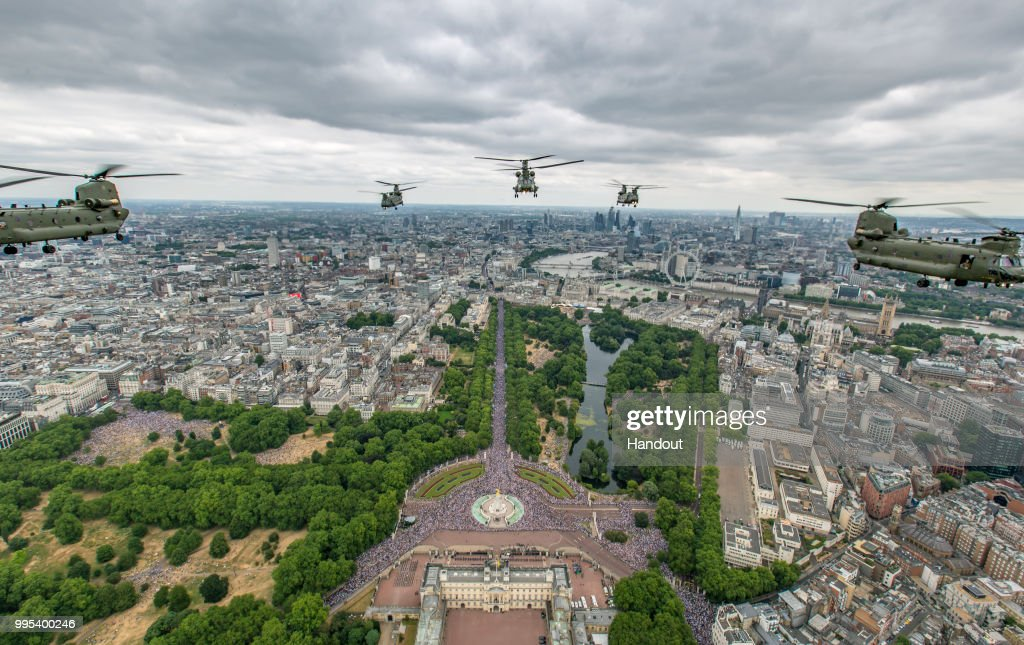 In this handout image provided by the Ministry of Defence, Royal Air Force (RAF) Chinooks from RAF Odiham flew in the lead formation, along with Pumas from RAF Benson, for the RAF100 flypast through London during RAF 100 celebrations on July 10, 2018 in London, England. A centenary parade and a flypast of up to 100 aircraft over Buckingham Palace takes place today to mark the Royal Air Forces' 100th birthday.
