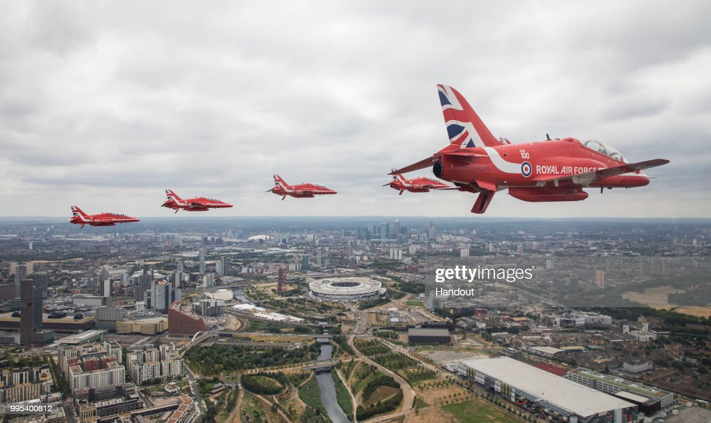 In this handout image provided by the Ministry of Defence, Royal Air Force Aerobatic Team taking part in the Centenary Flypast over Buckingham Palace during RAF 100 celebrations on July 10, 2018 in London, England. A centenary parade and a flypast of up to 100 aircraft over Buckingham Palace takes place today to mark the Royal Air Forces' 100th birthday.