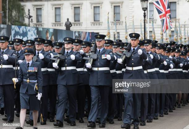 In this handout image provided by the Ministry of Defence Royal Air Force personnel parade in London as part in the RAF100 parade celebrations on...