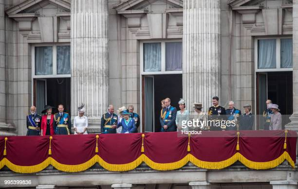 In this handout image provided by the Ministry of Defence Royals on the balcony of Buckingham Palace during RAF 100 celebrations on July 10 2018 in...