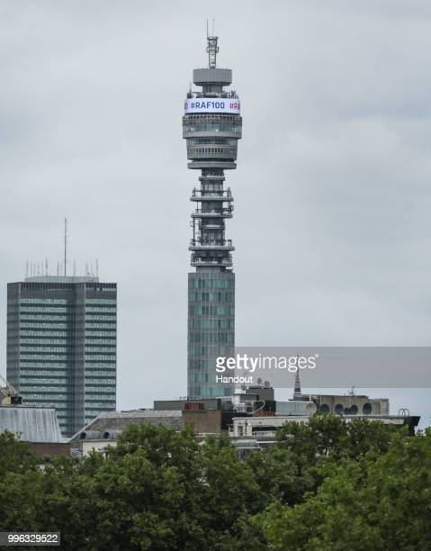 In this handout image provided by the Ministry of Defence the BT Tower displays a message during RAF 100 celebrations on July 10 2018 in London...