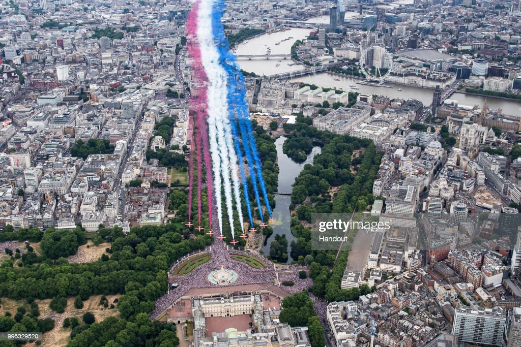 In this handout image provided by the Ministry of Defence, the Red Arrows perform for the RAF100 flypast over London during RAF 100 celebrations on July 10, 2018 in London, England. A centenary parade and a flypast of up to 100 aircraft over Buckingham Palace took place today to mark the Royal Air Forces' 100th birthday.