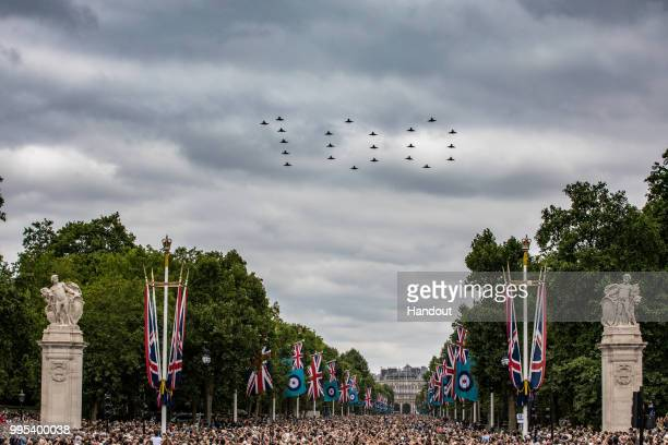 In this handout image provided by the Ministry of Defence Typhoon aircraft forming 'RAF100' over the Mall and Buckingham Palace during RAF 100...