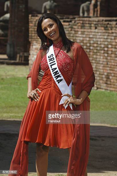 In this handout image provided by the Miss Universe LP/LLLP Rozanne Diasz Miss Sri Lanka 2005 records her intro for the 2005 Miss Universe...