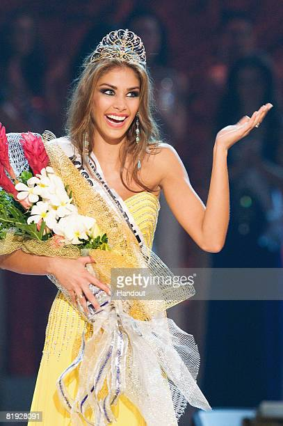In this handout image provided by the Miss Universe Organization Miss Venezuela is crowned the winner of Miss Universe 2008 on stage during the final...