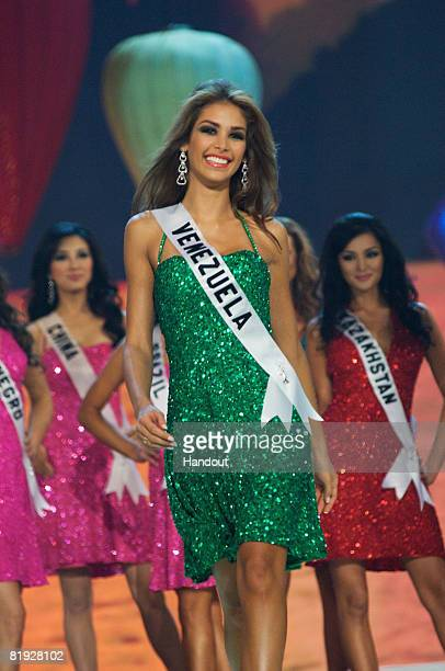 In this handout image provided by the Miss Universe Organization Miss Venezuela Dayana Mendoza one of the top 15 semi finalists performs on stage...