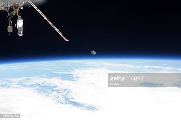 In this handout image provided by the National Aeronautics and Space Administration Earth's horizon and the moon can be seen from the International...