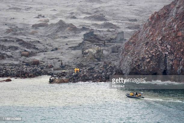 In this handout image provided by the New Zealand Defence Force recovery operation at Whakaari/White Island on December 13 2019 in Whakatane New...