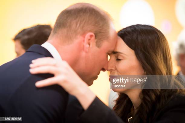 In this handout image provided by the New Zealand Government, Prince William, Duke of Cambridge is greeted with a Hongi, a traditional Maori...