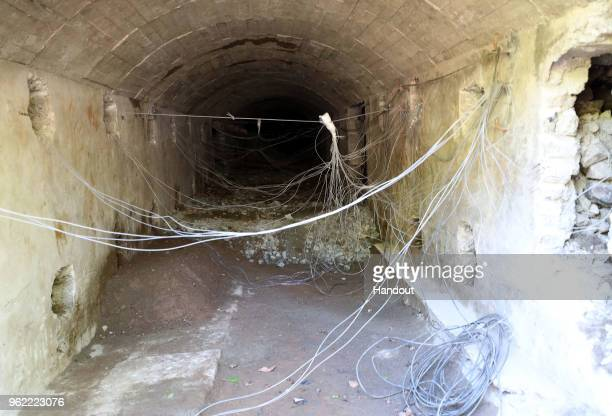 In this handout image provided by the News1DongA Ilbo the entrance to a tunnel rigged with explosives is shown at North Korea's Punggyeri nuclear...