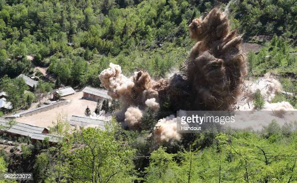 In this handout image provided by the News1DongA Ilbo the Punggyeri nuclear test site is demolished on May 24 2018 in Punggyeri North Korea North...