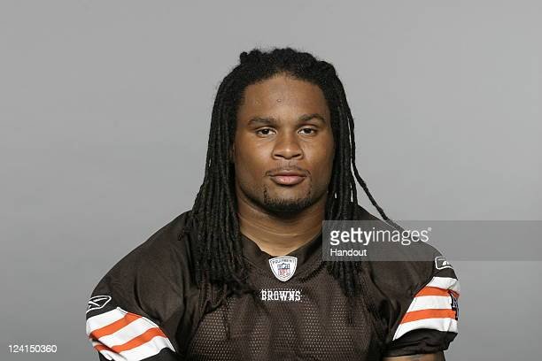 In this handout image provided by the NFL Joshua Cribbs of the Cleveland Browns poses for his NFL headshot circa 2011 in Berea Ohio
