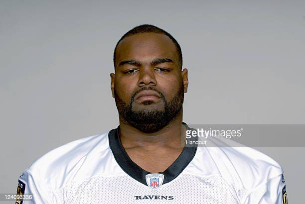 In this handout image provided by the NFL Michael Oher of the Baltimore Ravens poses for his NFL headshot circa 2011 in BaltimoreMaryland