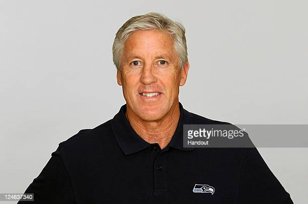 In this handout image provided by the NFL Pete Carroll of the Seattle Seahawks poses for his NFL headshot circa 2011 in Renton Washington